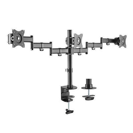 Brateck 13'-27' Triple Monitor Desk Mount. Rotate, Tilt And Swivel.