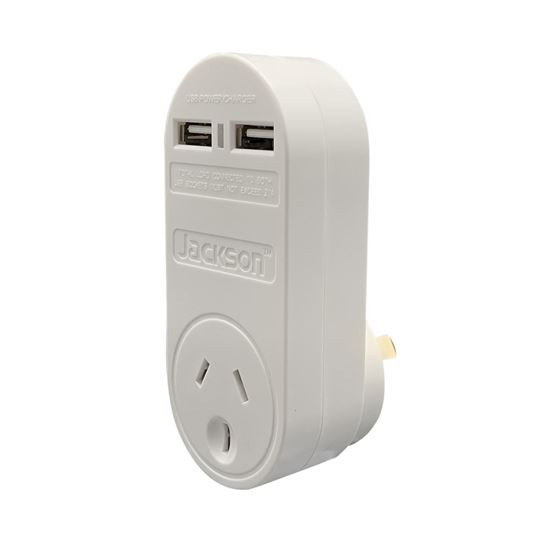 Jackson Single Plug USB Wall Charger, 2x USB Charging Outlets