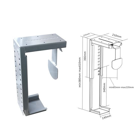 Brateck Under Desk PC Holder. Wall Mount And Desk Mount