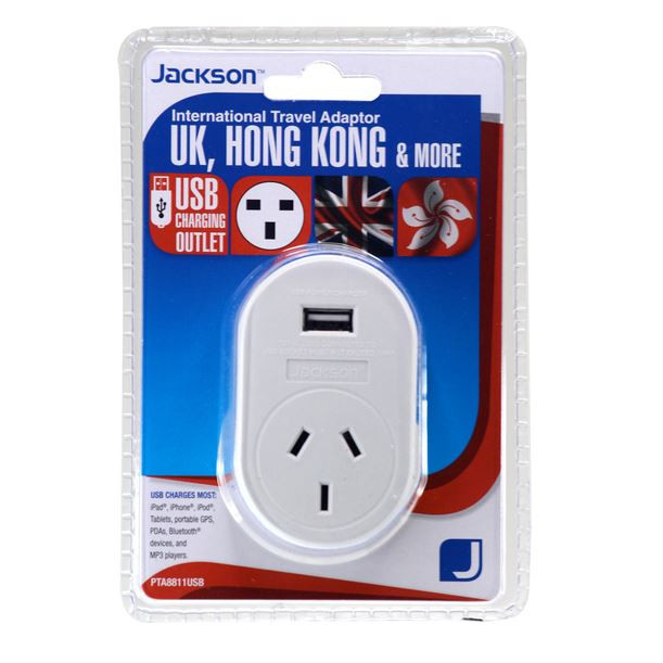 Jackson Outbound Travel Adaptor. With 1x USB Charging Port