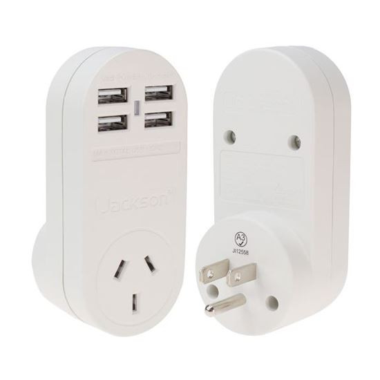 Jackson Outbound USA Travel Adapter With 4x (3.1A) USB Ports