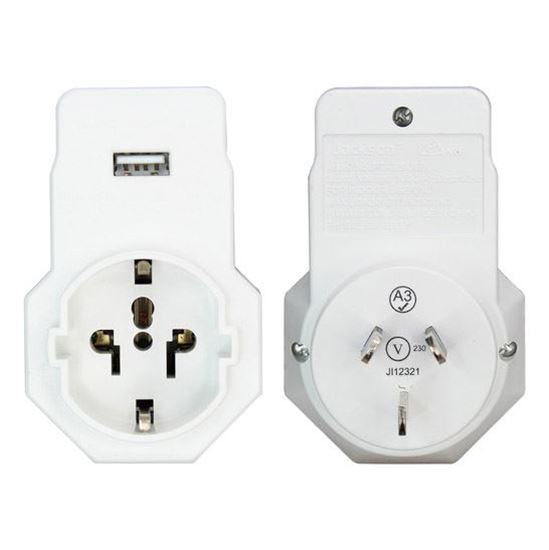 Jackson 1x Outlet Travel Adaptor With 1x USB Charing Port & Surge