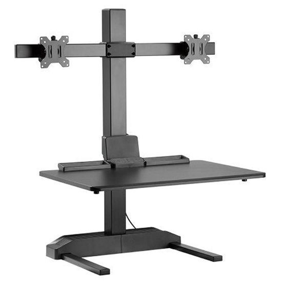 Brateck Electric Sit-Stand Desk Converter With Dual Monitor Mount