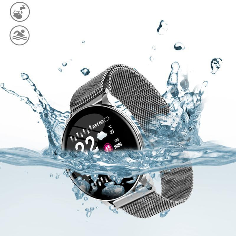 Waterproof Fitness Tracker Smart Watch with Elegant Stainless Steel Band