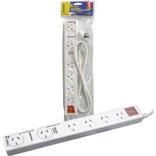 Jackson 6-Way Power Board Surge Protected With 2x Double Spaced