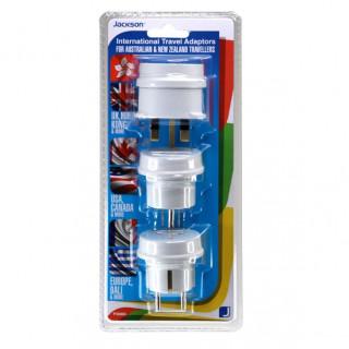 Jackson Pack Of 3 Travel Adapters NZ/AU Socket To US, UK, Europe Plug