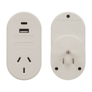 Jackson Outbound Travel Adaptor With 1x USB-A And 1x USB-C (2.1A)