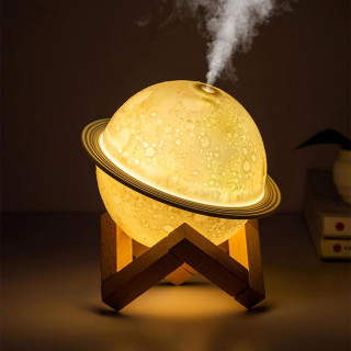 USB Rechargeable 3D Printed Planet Night Lamp and Essential Oil Diffuser