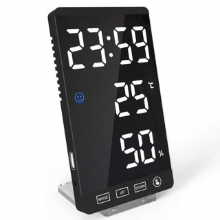 6-inch LED Mirror Touch Button Alarm Clock