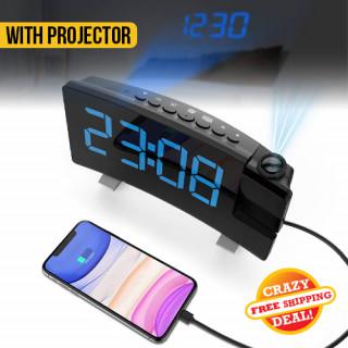 LED Display Projector FM Radio Alarm Clock
